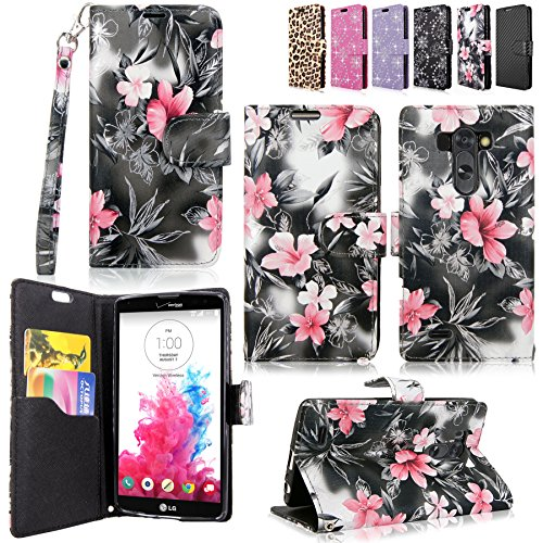 LG G Vista Case-Cellularvilla Pu Leather Wallet Card Flip Open Pocket Case Cover Pouch For LG G Vista VS880 (Verizon / AT&T) (Black Pink Flower)