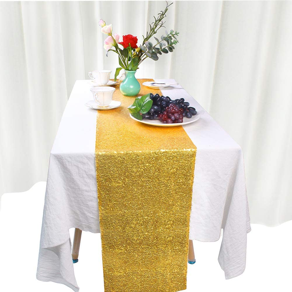 12 x 72, Gold JYFLZQ 5-Pack Sequin Table Runner Party Supplies Decor for Wedding Birthday Baby Shower