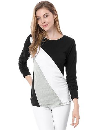 Allegra K Women Color Block Long Sleeve Slim Fit T-Shirt Top XS Black White