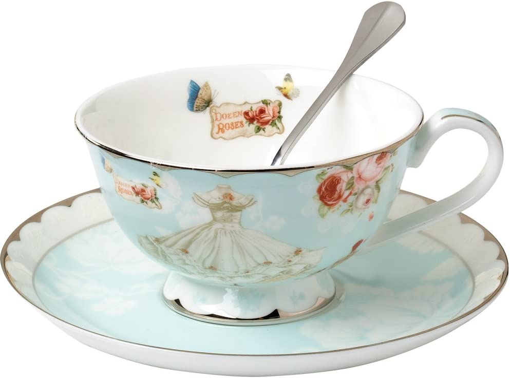 Amazon Com Awhome Teacup And Saucer And Spoon Sets Vintage Royal Bone China Tea Cups Rose Flower Blue Boxed Set 7 Oz Cup Saucer Sets