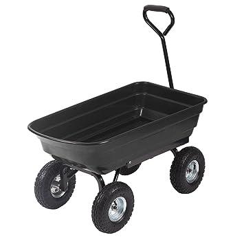 Delightful Heavy Duty Poly Black Garden Utility Yard Dump Cart Wheel Barrow Garden Cart  T91