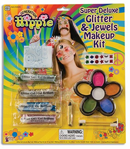 Forum Novelties 64245F Super Deluxe Glitter and Jewels Hippie Makeup Kit
