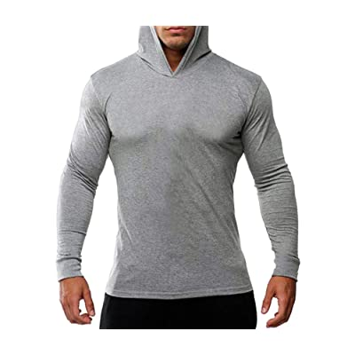 Mens Sport Casual Hoodies Long Sleeve Thin Athletic Workout Sweatshirts New (L, Gray)
