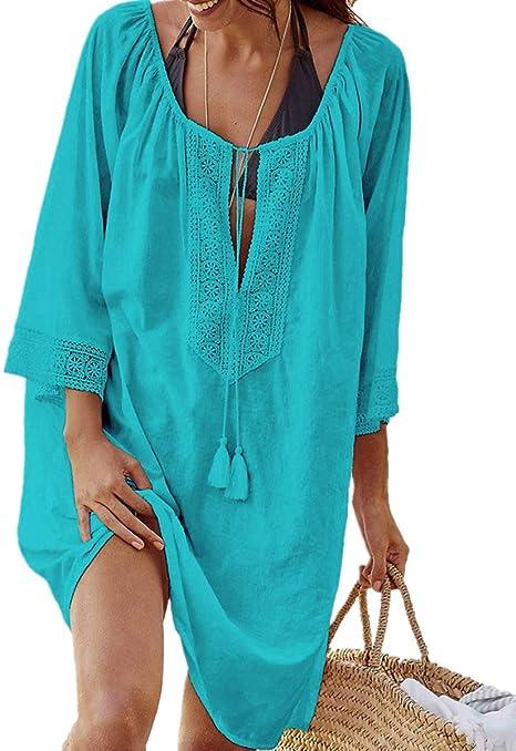 Imagen deAiJump Pareo de Algodón Encaje Vestido de Playa Bikini Cover Up para Mujer