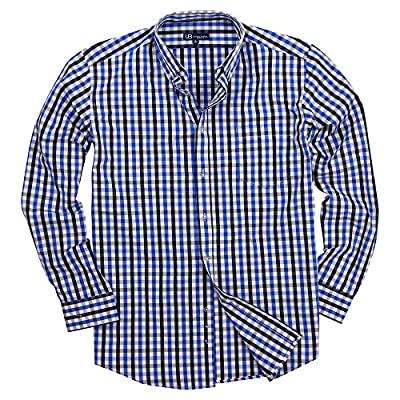 Men's 100% Cotton Plaid Long Sleeve Shirt