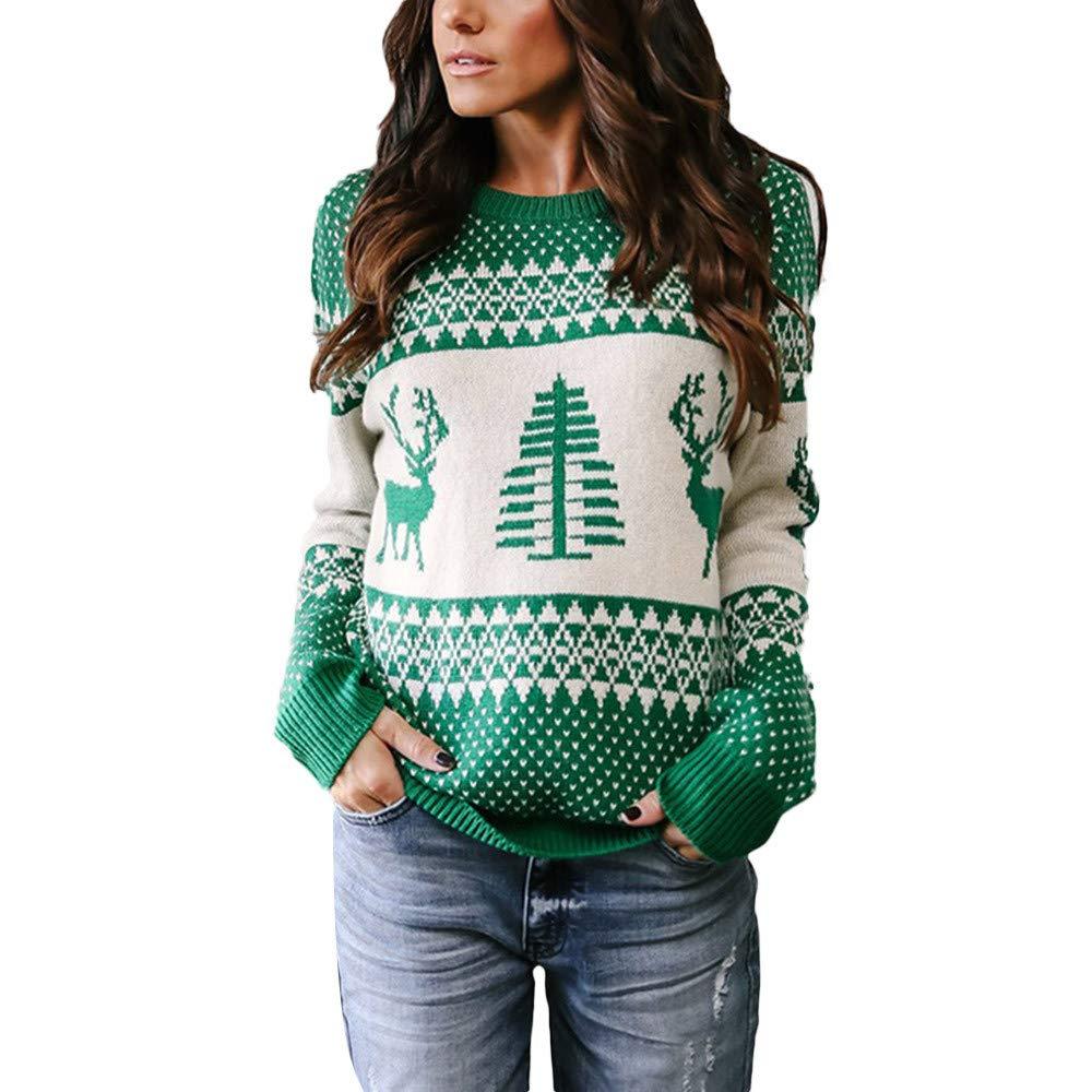 Geili Weihnachts Pullover Damen Weihnachten Strickpullover Christmas Sweater  Frauen Rundhals Langarm Weihnachten Pulli Bluse Tops Oberteile ... 1152415898