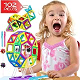 Lazy Monk Magnetic Blocks Tiles Kids - 102 Pcs Magnet Building Tile Toddlers - Best 3D Educational Toys