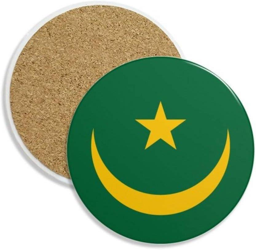 DIYthinker Mauritania áfrica Emblema Nacional Coaster la Taza de cerámica Titular de Piedra Absorbente para Regalo Bebidas 2pcs