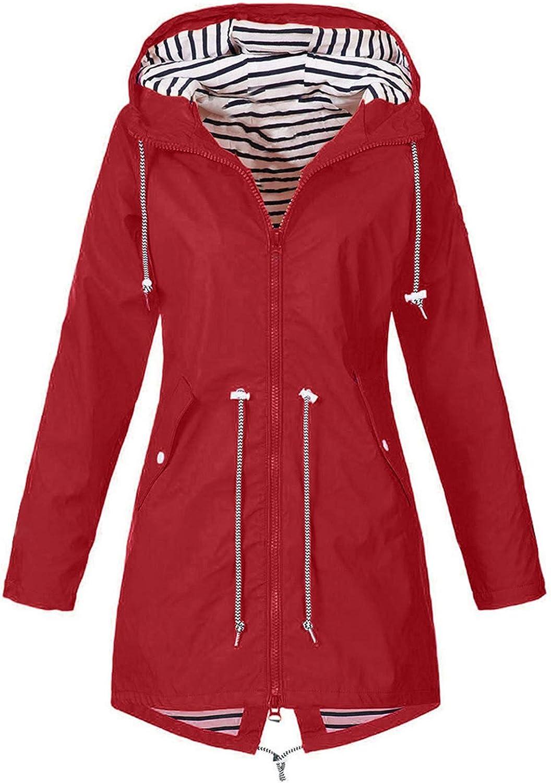 NDJqer Women Rain Jackets Outdoor Waterproof Raincoat with Hooded Pocket Hiking Windproof Raincoat