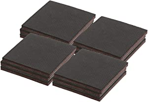 Prime-Line MP76730 Heavy-Duty Non-Slip Furniture Pads, 1/4 in. Thick x 3 in. x 3 in. Squares, Self-Adhesive Backing, Brown Felt w/Black Rubber, Pack of 12