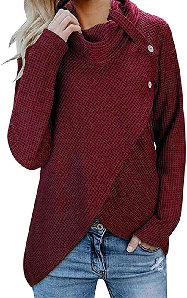 ALLYOUNG suéter de Manga Larga con Botones y Cuello de Vaca ...