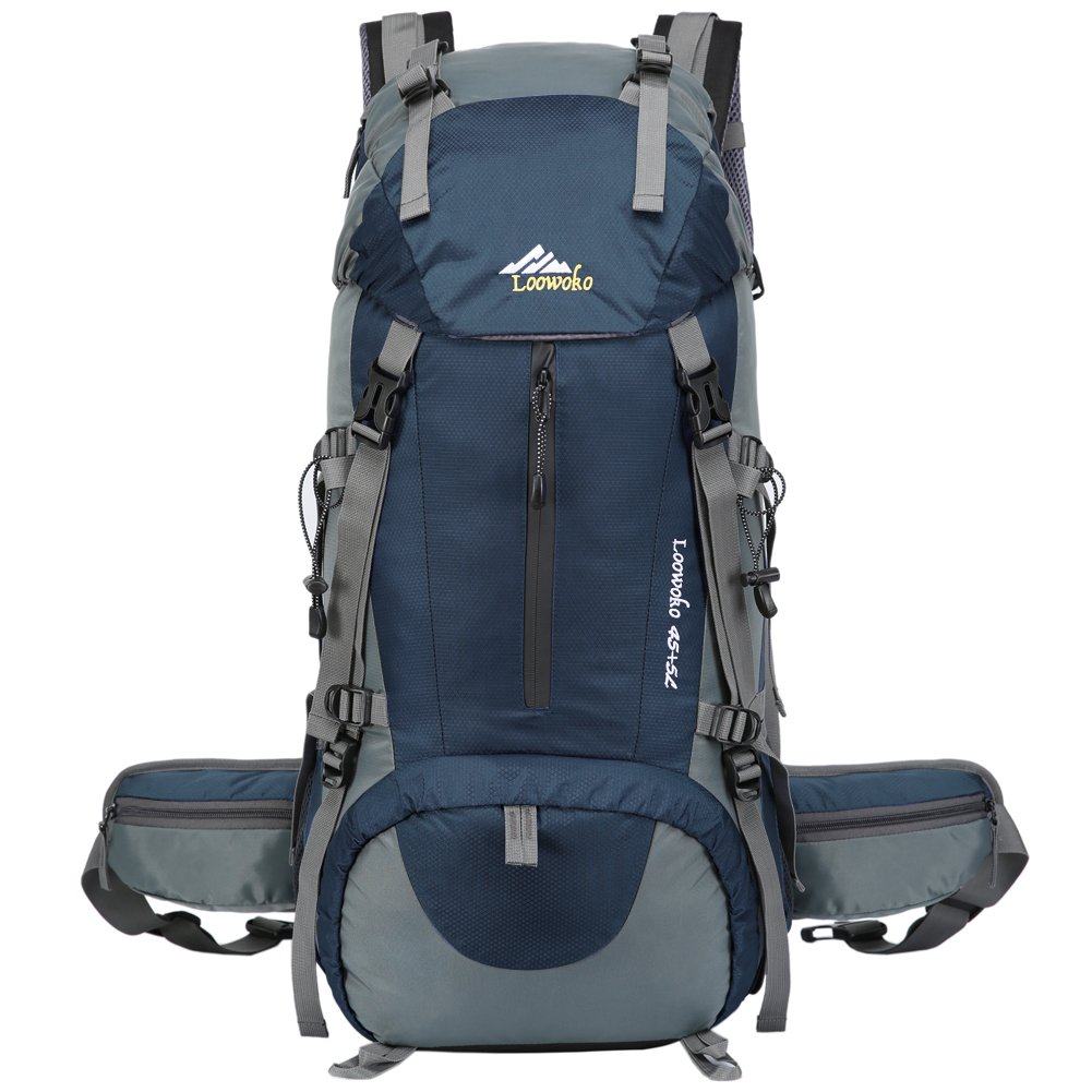 Loowoko Hiking Backpack 50L Travel Camping Backpack with Rain Cover for Outdoor Traveling (Dark Blue) by Loowoko (Image #2)