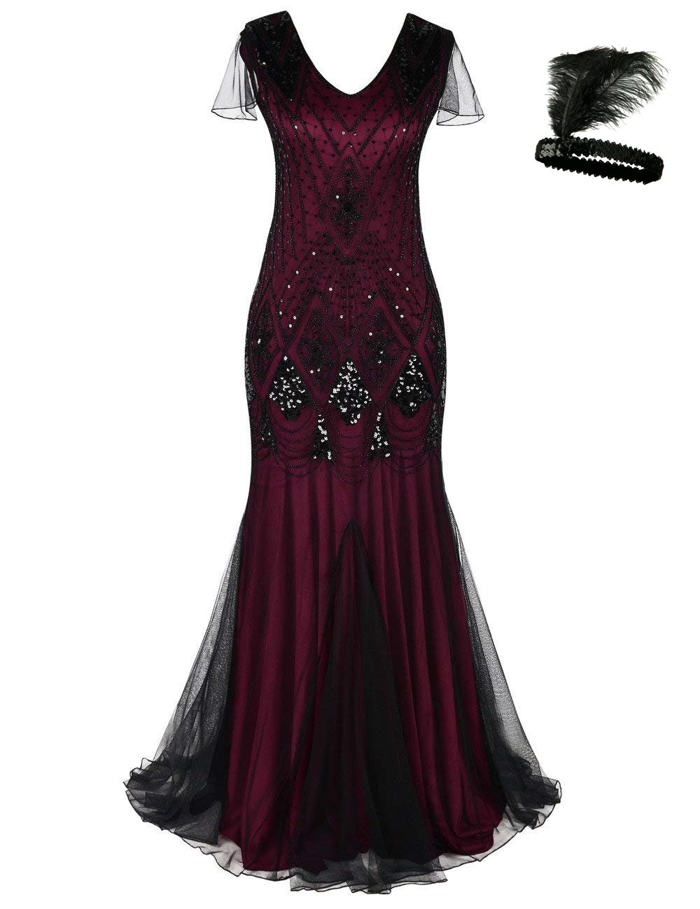 Women 1920s Flapper Cocktail Maxi Long Gatsby Evening Dress Mermaid Formal Gown (red/Black, M)