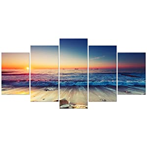 Pyradecor 5 Piece Extra Large Modern Seascape Artwork Gallery Wrapped Ocean Sea Beach Pictures Giclee Canvas Prints Waves Paintings on Canvas Wall Art for Living Room Bedroom Home Decorations XL