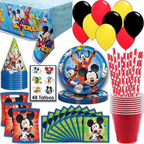Mickey Mouse Party Supplies, Serves 16 - Plates, Napkins, Tablecloth, Cups, Straws, Balloons, Loot Bags, Tattoos, Birthday Hats - Full Tableware, Decorations, Favors for -