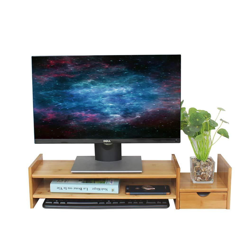 Laptop//Notebook DlandHome Soporte para Monitor de Computadora con Organizador de Almacenamiento Soporte de Escritorio Multimedia para Pantalla Plana LCD LED TV