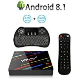 H96 Max+ Android 8.1 TV Box with RK3328 Quad-Core 64Bits CPU, 4GB RAM 64GB ROM, Support 4K Ultra HD H.265 2.4G/5G Dual WiFi,Smart Set Top Box with Wireless Backlit Keyboard