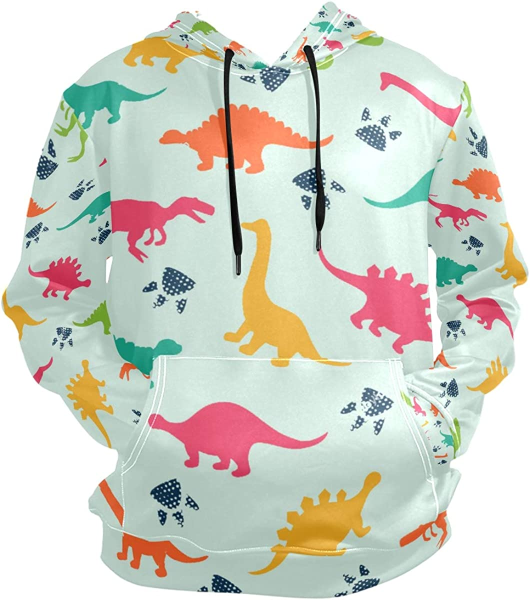 Colorful Dinosaurs Animal Mens Hoodies Drawstring Casual Pouch Pocket Pullovers Boys Cool