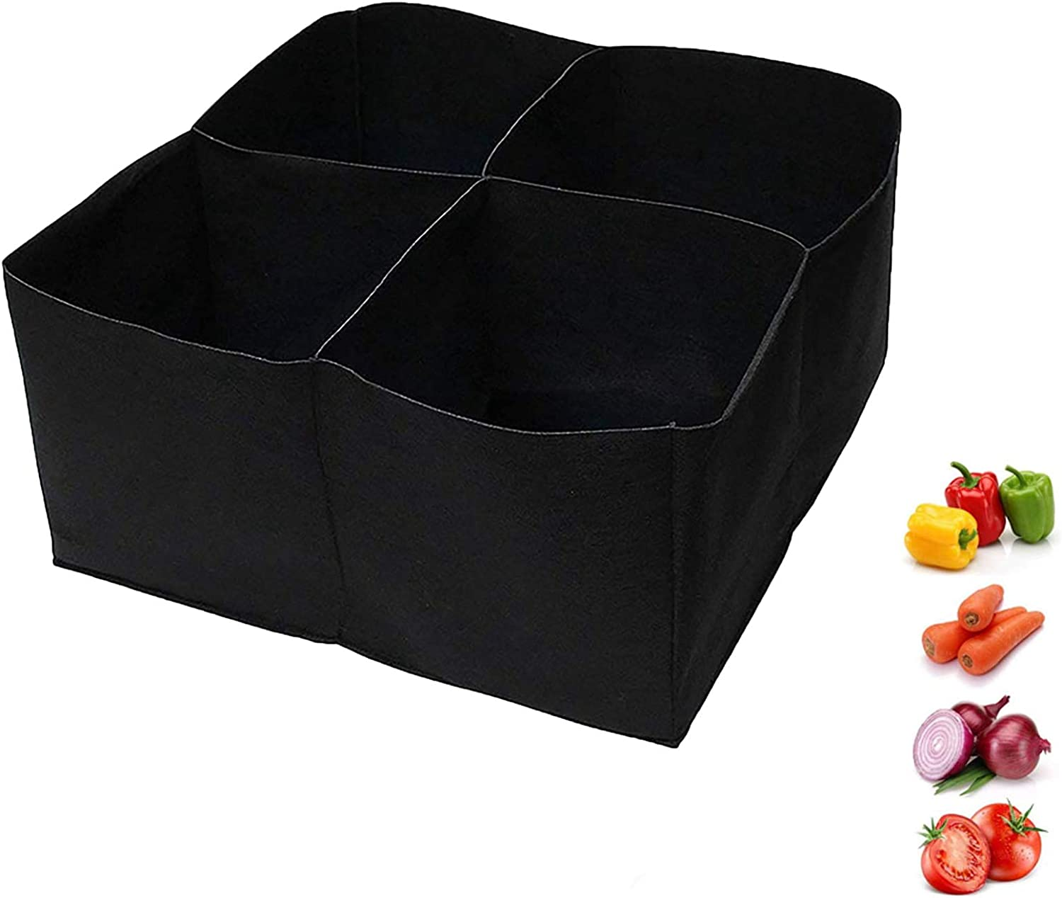 Genericaa 4 Divided Square Grow Planter Bag, 30 Gallon Premium Garden Planter Fabric Bed, Durable Thick Bag for Indoor and Outdoor, Grow Pot for Carrot Onion Herb Flower Vegetable Plants