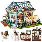 CUTEBEE Dollhouse Miniature with Furniture, DIY Dollhouse Kit Plus Dust Proof and Music Movement, 1:24 Scale Creative Room Idea (Rose Garden Tea House)