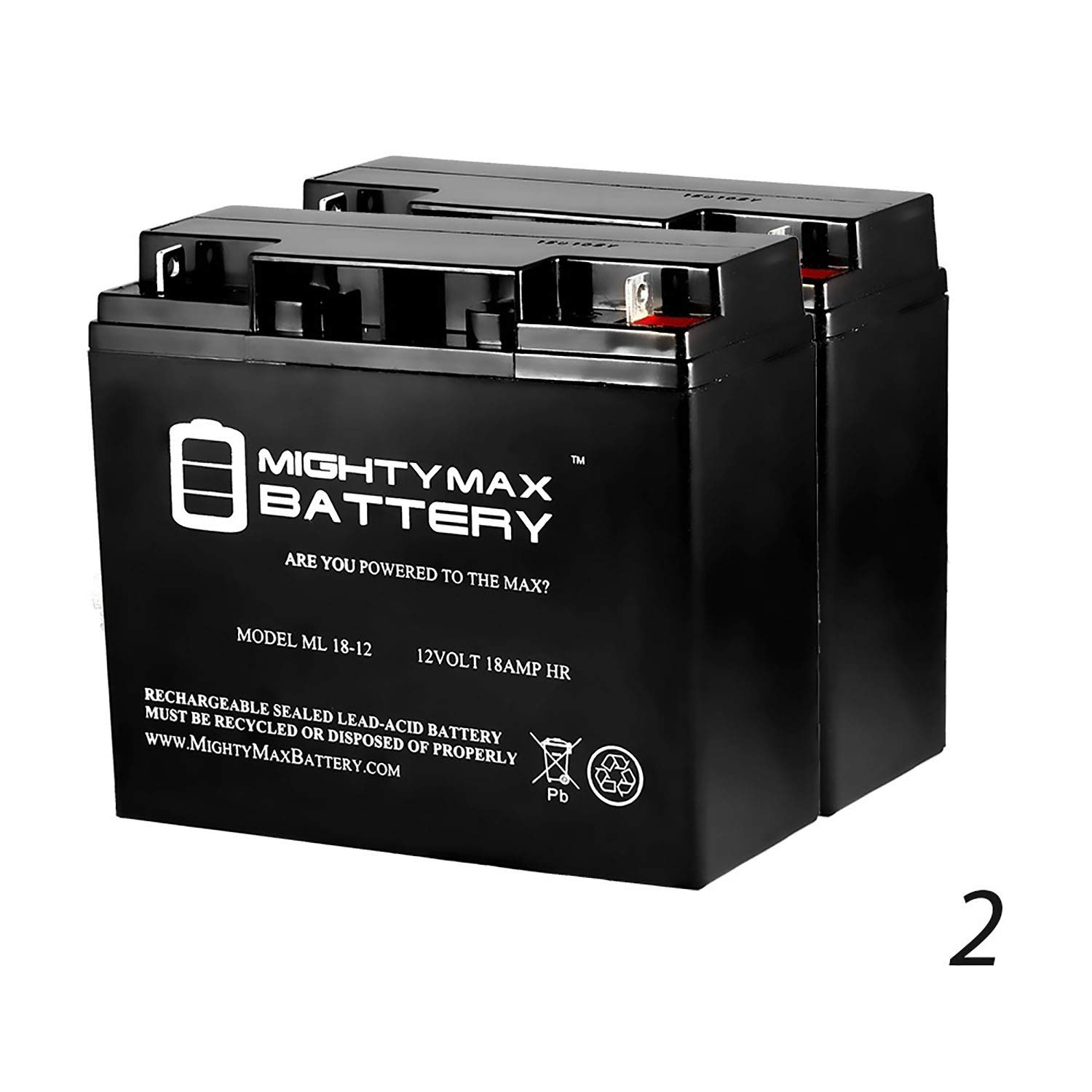 Mighty Max Battery 12V 18AH Battery Replaces BP17-12 GP12170 ES17-12 JC-1270 Enduring 6-DW-17 SLA17-12 - 2 Pack Brand Product
