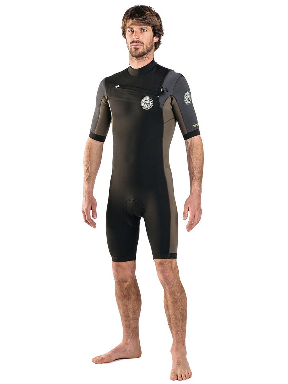 RIP CURL 2018 Aggrolite 2mm Chest Zip Shorty Wetsuit ROT WSP6NM
