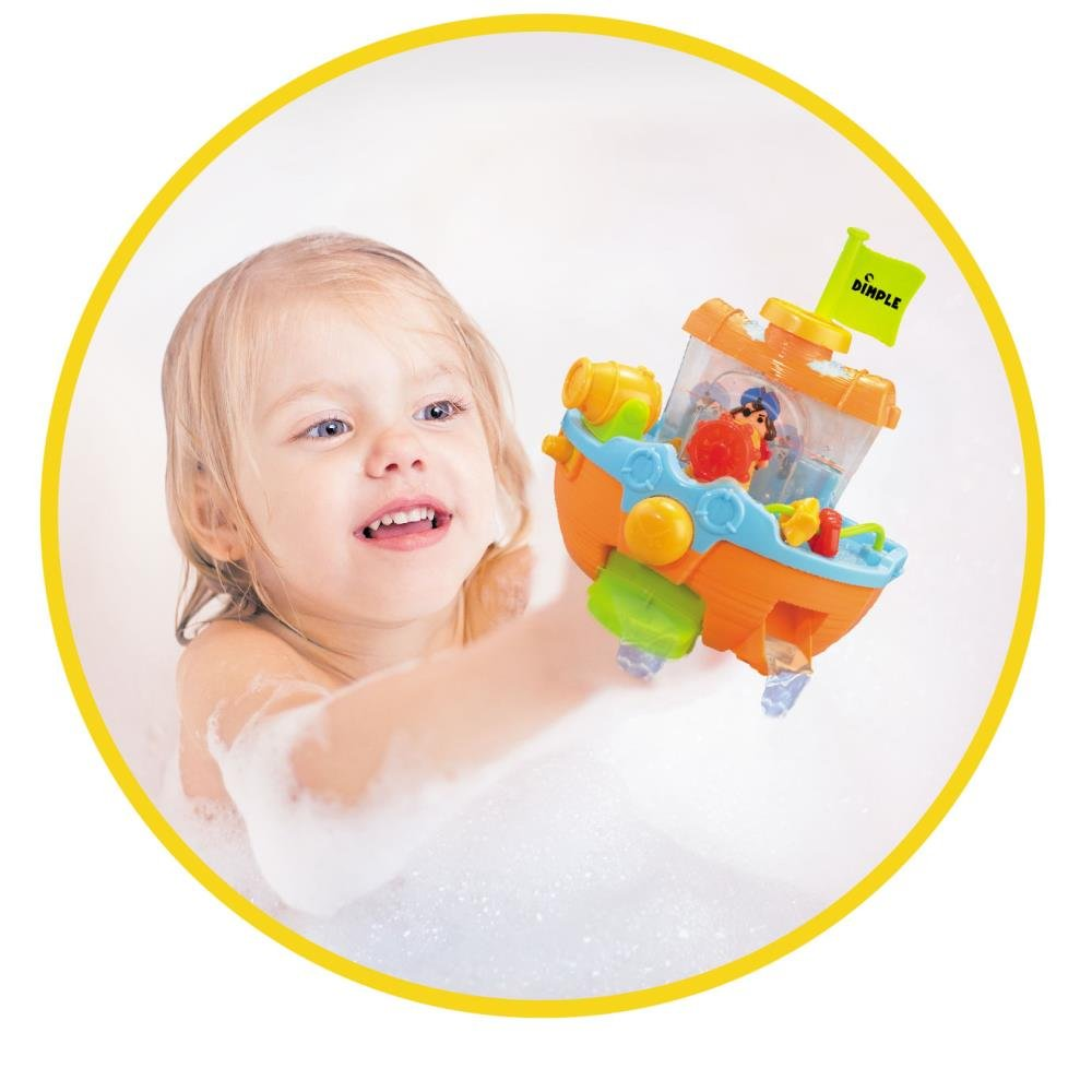 Amazon.com: Dimple Wall Mountable Pirate Ship Bath Tub Toy with ...