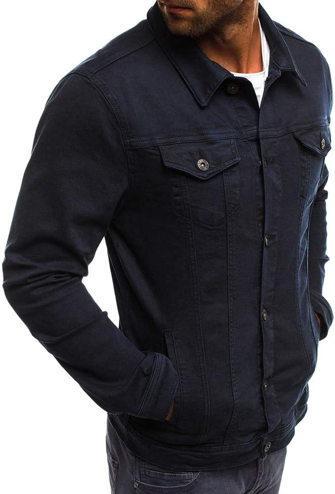 Herren Jeansjacke LeeMon Stretch Destroyed Jeans Jacket Denim Jacke Herren Herbst Winter Button Volltonfarbe Vintage Jeansjacke Tops Bluse Mantel
