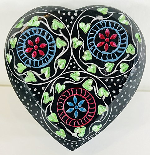 Soapstone Black Stone Jewelry Trinket Heart Shaped Box Hand Painted Hand ()