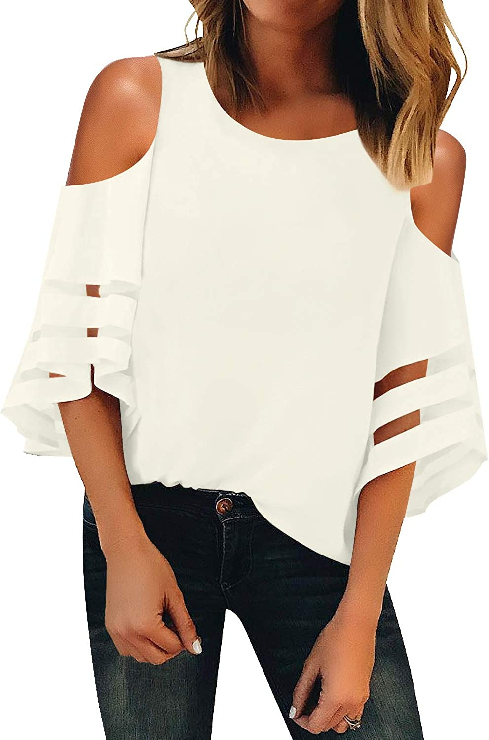 LookbookStore Womens Cold Shoulder Loose Shirt Tops 3//4 Bell Mesh Sleeve Blouse