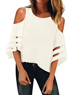 a2f4beb9aad962 LookbookStore Women's V Neck Mesh Panel Blouse 3/4 Bell Sleeve Loose Top  Shirt