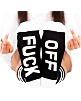Fuck Off Socks Unisex Ribbed Knit Funny Cotton Half Crew Socks