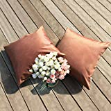 PONY DANCE Decorative Cushion Covers for Couch Supersoft Throw Pillowcase Covers Rectangular Cushion Shams for Sofa with Hidden Zipper, Golden Brown, 18'' x 18'', Set of 2