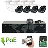 GW Security 8 Channel 5MP NVR HD 1920P IP PoE Security Camera System with 4 Outdoor /Indoor 2.8-12mm Varifocal Zoom 5.0 Megapixel 1920P Cameras, QR Code Easy Setup, Free Remote View