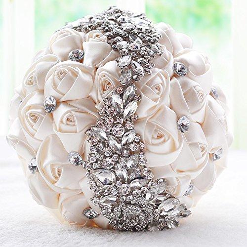 Abbie Home シルバーブローチブーケ - 花嫁ウェディングブーケ ブライズメイド サテンローズフラワー 輝くラインストーンクリスタル装飾付き ホワイト B07GY11MQN クリーミーホワイト