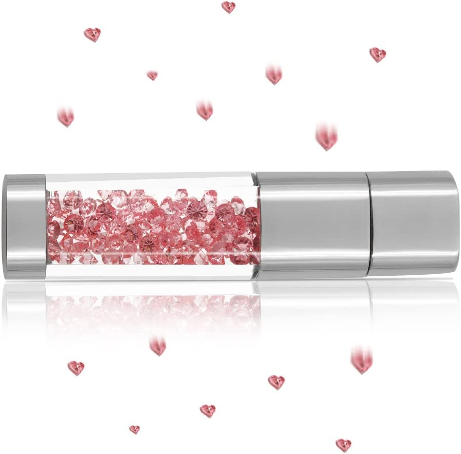 USB Flash Drive 64GB, Techkey Crystal Jewelry Pen Drive with Silver Polishing Cloth and Velvet Bag Set for Girls (Pink)