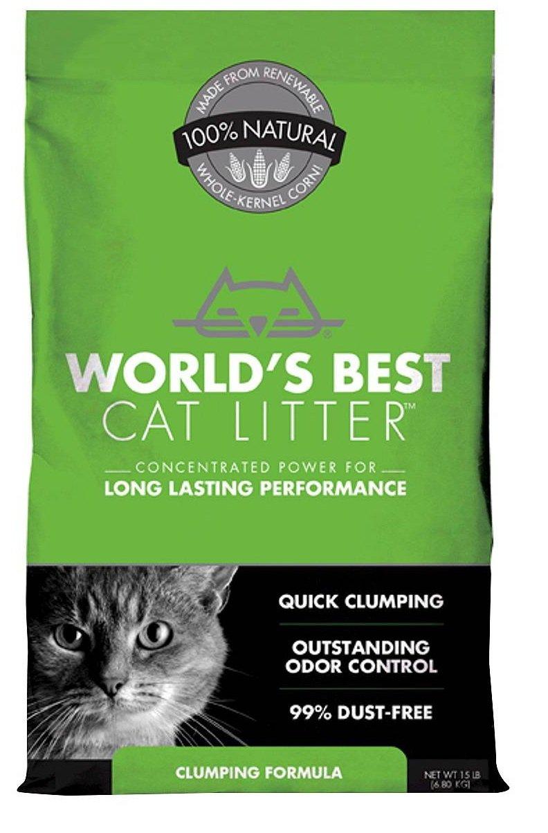 World's Best Cat Litter Clumping Formula (15 lbs - 3 Bags) by World's Best Cat Litter