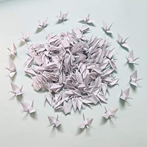 150Pcs Folded White Origami Paper Crane Handmade DIY Bird Garlands for Wedding Party Birthday Baby Shower Streamer Hanging Backdrop Décor Peace Dove-Happiness Good Luck