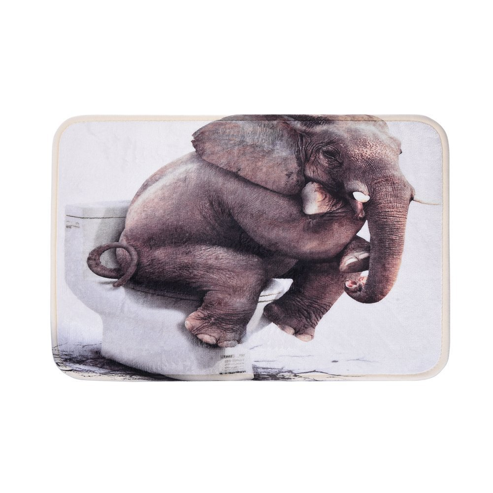 Uarter Bath Mat, Elephant Rug, Bath Rugs, Anti-bacterial Non-slip Bathroom Mat, Soft Bathmat Bathroom Carpet for Baby Kids Safety with Memory Foam Coral Velvet Fabric 15.7'' X 23.6''