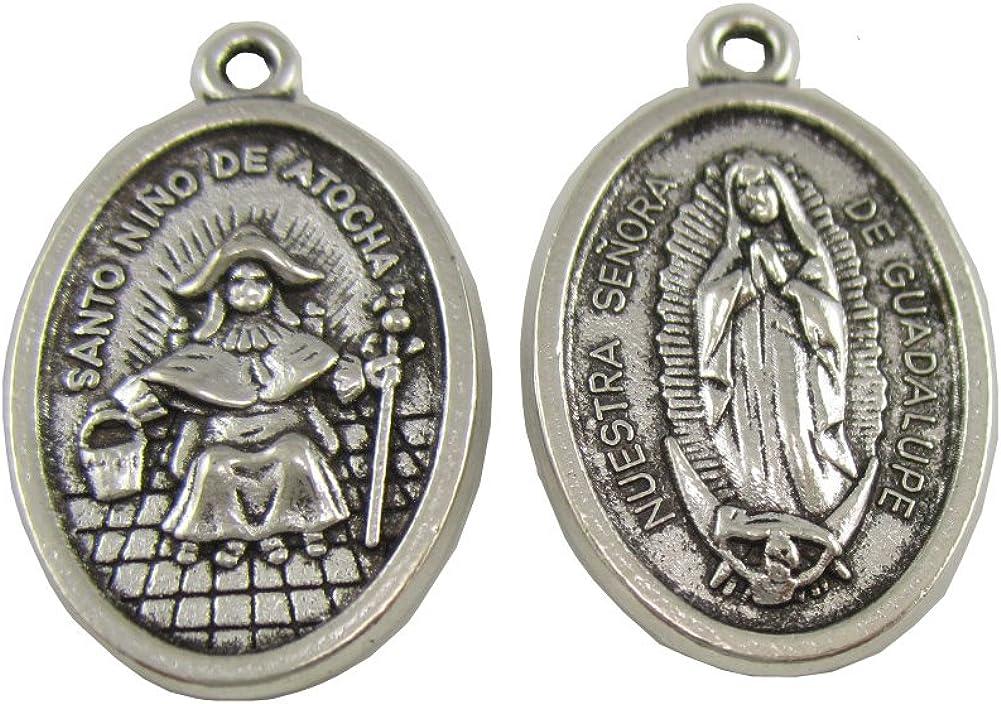 100pcs of Catholic Oval Nuestra Senora De Guadalupe Santo Nino De Atocha Pendant