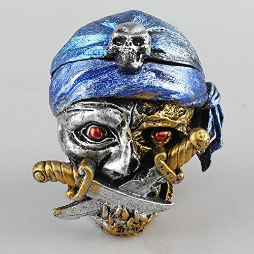 SPARIK ENJOY (TM) Halloween Pirates Skull Ashtray Cigarette Cigar Smoking Ashtrays Home Decoration ,a Great Valentine's Day, Halloween, Christmas Gift for Your Boyfriend and Father (Blue) -