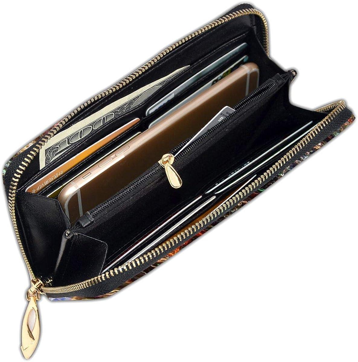 Women Genuine Leather Wallets Lines Strokes Dark Credit Card Holder Organizer Ladies Purse Zipper Around Clutch Cash Pocket