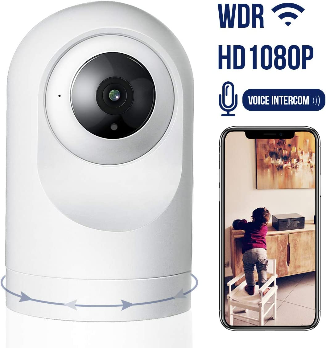 Security Camera,1080P WiFi Smart Camera Motion Detection with Night Vision,App Alarm Push,Two Way Audio Work with Alexa,Support 64GB TF Card,Cloud Storage Need Charge ,Home Camera for Baby Pet Elderly