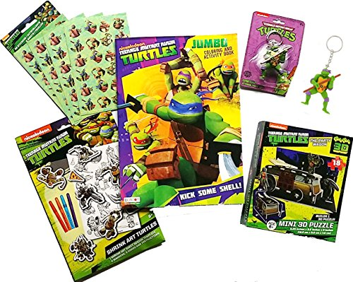 Nickelodeon TMNT Teenage Mutant Ninja Turtles Stocking Stuffer, Key Chain, 3D Puzzle, Coloring Book & Sticker Fun Bundle, 6 PC. (Teenage Mutant Ninja Turtles Donatello Coloring Pages)