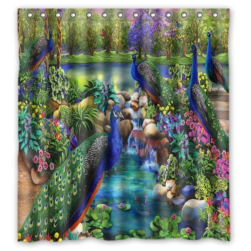 Amazon Fashion And Generic Peacock River Shower Curtain66w