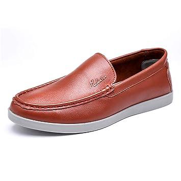 Zapatos de Cuero con Cordones cómodos Ocasionales de los Hombres, Hombre Mocasines con Punta Redonda