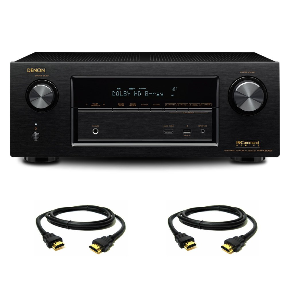 Denon AVR-X2100W 7.2 Channel Full 4K Ultra HD A/V Receiver with Bluetooth and Wi-Fi with a Pair of HDMI Cables