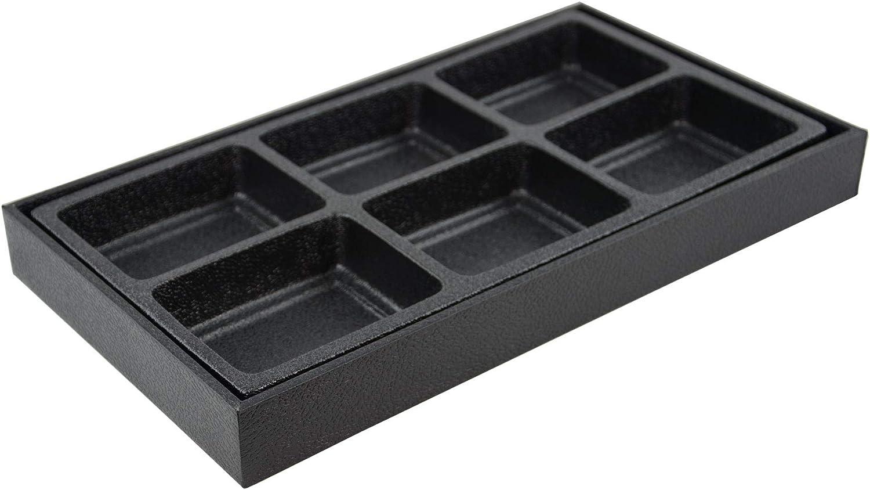 Bandeja expositora de madera para joyas con compartimento de plástico, para guardar anillos, pulseras, collares, gemas, cuentas Black 6 Compartment