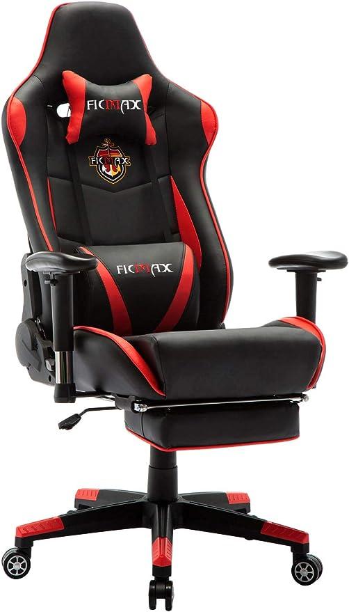 Ficmax Sedia Gaming Ergonomica da Ufficio Poltrona Computer con Massaggio Supporto Lombare Sedie Gaming PC con Poggiapiedi Poltrona da Corsa Stile PU Leather E-Sports Sedie da Gaming