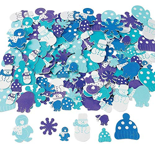 Fun Express 500 Foam Winter Sticker Shapes/Craft/Snowflake/Snow Snowman/Mittens -